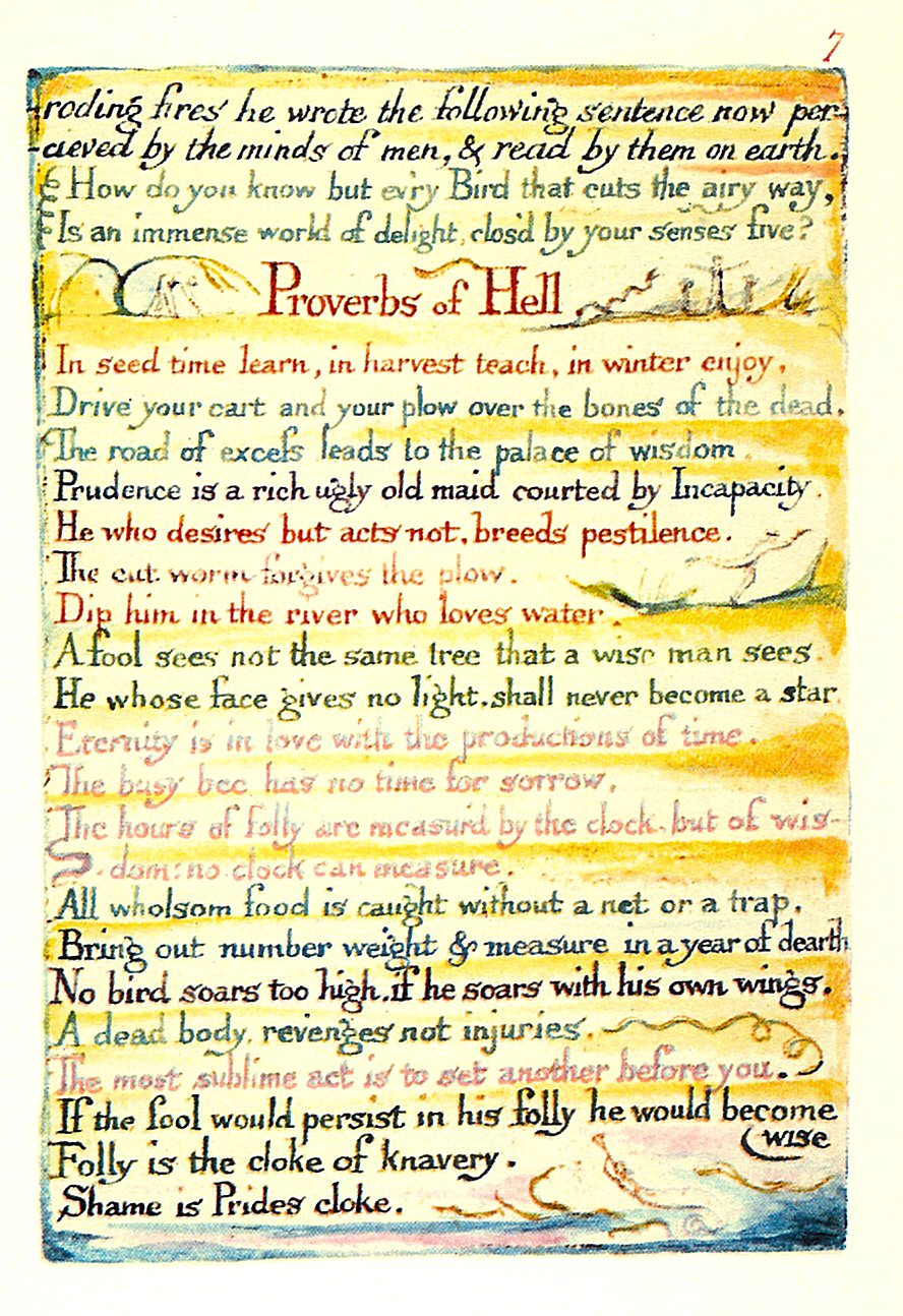 Proverbs Of Hell < The Marriage of Heaven and Hell < William Blake ...