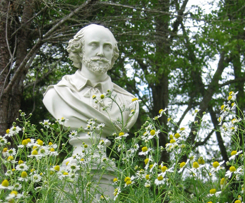 Bust of Shakespeare in the McAshan Herb Gardens