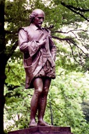 Statue of Shakespeare in New York City's Central Park