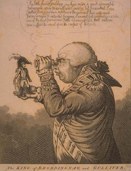 The King of Brobdingnag examines Gulliver under a magnifying glass.