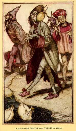 A Laputian gentleman taking a walk.<br /><br /><br /><br /><br /> Illustration by Arthur Rackham, 1909.
