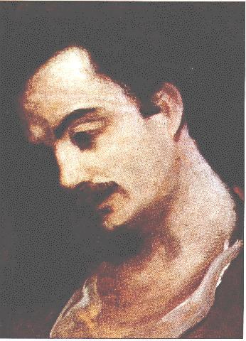 Khalil Gibran, aged 25, oil painting by Yusef Hoyiek.